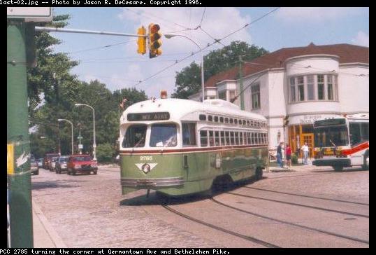 (44k, 538x364)<br><b>Country:</b> United States<br><b>City:</b> Philadelphia, PA<br><b>System:</b> SEPTA (or Predecessor)<br><b>Line:</b> Rt. 23-Germantown <br><b>Location:</b> Germantown/Bethlehem <br><b>Car:</b> PTC/SEPTA Postwar All-electric PCC (St.Louis, 1947)  2785 <br><b>Photo by:</b> Jason R. DeCesare<br><b>Viewed (this week/total):</b> 0 / 2235