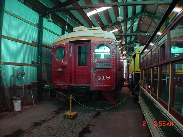 (60k, 640x480)<br><b>Country:</b> United States<br><b>City:</b> Perris, CA<br><b>System:</b> Orange Empire Railway Museum <br><b>Car:</b> Pacific Electric Blimp Interurban (Pullman, 1913)  418 <br><b>Photo by:</b> Salaam Allah<br><b>Date:</b> 10/1/2000<br><b>Viewed (this week/total):</b> 1 / 1249