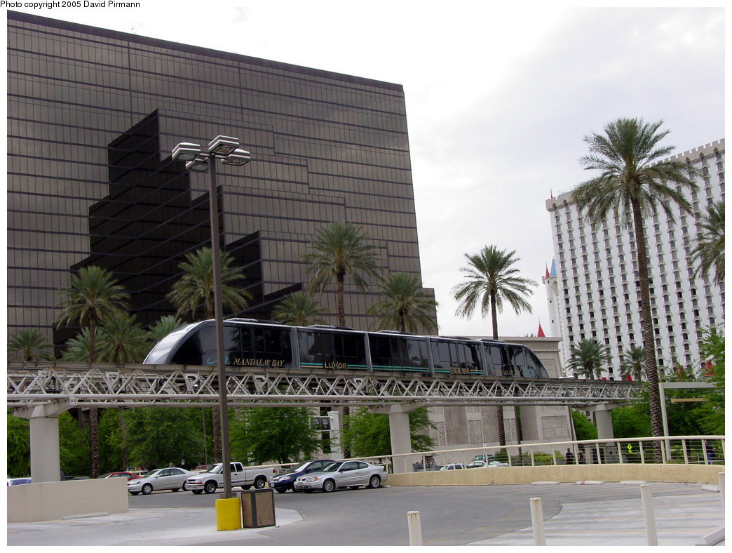 (224k, 1044x788)<br><b>Country:</b> United States<br><b>City:</b> Las Vegas, NV<br><b>System:</b> Mandalay Bay / Luxor / Excalibur Tram<br><b>Location:</b> Between Luxor & Excalibur<br><b>Photo by:</b> David Pirmann<br><b>Date:</b> 4/22/2005<br><b>Notes:</b> Shuttle monorail.<br><b>Viewed (this week/total):</b> 1 / 1903
