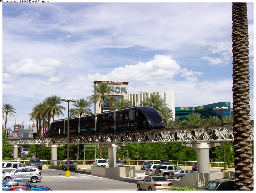 (230k, 1044x788)<br><b>Country:</b> United States<br><b>City:</b> Las Vegas, NV<br><b>System:</b> Mandalay Bay / Luxor / Excalibur Tram<br><b>Location:</b> Between Luxor & Excalibur<br><b>Photo by:</b> David Pirmann<br><b>Date:</b> 4/23/2005<br><b>Notes:</b> Shuttle monorail.<br><b>Viewed (this week/total):</b> 0 / 1973