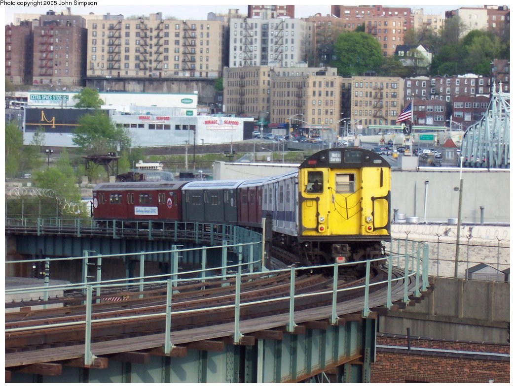 (204k, 1044x788)<br><b>Country:</b> United States<br><b>City:</b> New York<br><b>System:</b> New York City Transit<br><b>Location:</b> 207th Street Yard<br><b>Route:</b> Fan Trip<br><b>Car:</b> R-22 (St. Louis, 1957-58) 37371 <br><b>Photo by:</b> John Simpson<br><b>Date:</b> 5/1/2005<br><b>Notes:</b> Work Motor 37371 after fantrip, returning to 207th St. Yard.<br><b>Viewed (this week/total):</b> 1 / 2740