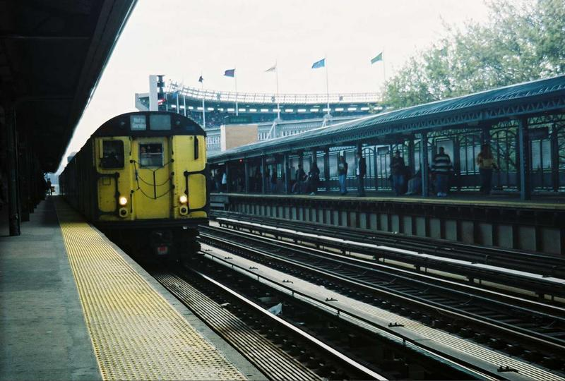 (78k, 800x540)<br><b>Country:</b> United States<br><b>City:</b> New York<br><b>System:</b> New York City Transit<br><b>Line:</b> IRT Woodlawn Line<br><b>Location:</b> 161st Street/River Avenue (Yankee Stadium) <br><b>Route:</b> Fan Trip<br><b>Car:</b> R-22 (St. Louis, 1957-58) 37371 <br><b>Photo by:</b> Gary Chatterton<br><b>Date:</b> 5/1/2005<br><b>Notes:</b> Work Motor 37371 on fantrip.<br><b>Viewed (this week/total):</b> 0 / 2881