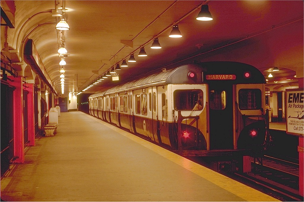 (224k, 1024x679)<br><b>Country:</b> United States<br><b>City:</b> Boston, MA<br><b>System:</b> MBTA<br><b>Line:</b> MBTA Red Line<br><b>Location:</b> Central <br><b>Car:</b> MBTA 01400 Series (Pullman-Standard, 1963)  01432 <br><b>Photo by:</b> Steve Zabel<br><b>Collection of:</b> Joe Testagrose<br><b>Date:</b> 6/10/1980<br><b>Viewed (this week/total):</b> 1 / 5209