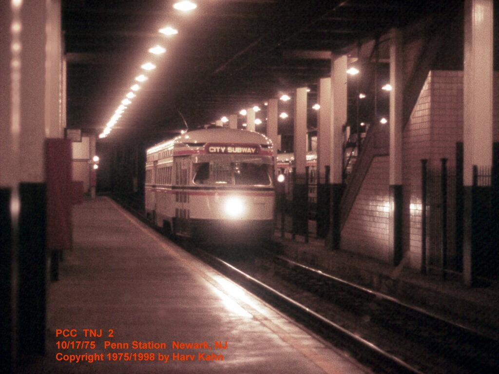 (110k, 1024x768)<br><b>Country:</b> United States<br><b>City:</b> Newark, NJ<br><b>System:</b> Newark City Subway<br><b>Line:</b> 7-City Subway<br><b>Location:</b> Penn Station <br><b>Car:</b> NJTransit/PSCT PCC (Ex-Twin City) (St. Louis Car Co., 1946-1947) 2 <br><b>Photo by:</b> Harv Kahn<br><b>Date:</b> 10/17/1975<br><b>Viewed (this week/total):</b> 2 / 4008