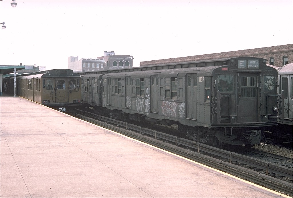 (167k, 1024x692)<br><b>Country:</b> United States<br><b>City:</b> New York<br><b>System:</b> New York City Transit<br><b>Location:</b> Rockaway Park Yard<br><b>Car:</b> R-6-2 (Pullman, 1936)  1157 <br><b>Photo by:</b> Doug Grotjahn<br><b>Collection of:</b> Joe Testagrose<br><b>Date:</b> 7/31/1976<br><b>Viewed (this week/total):</b> 0 / 4503