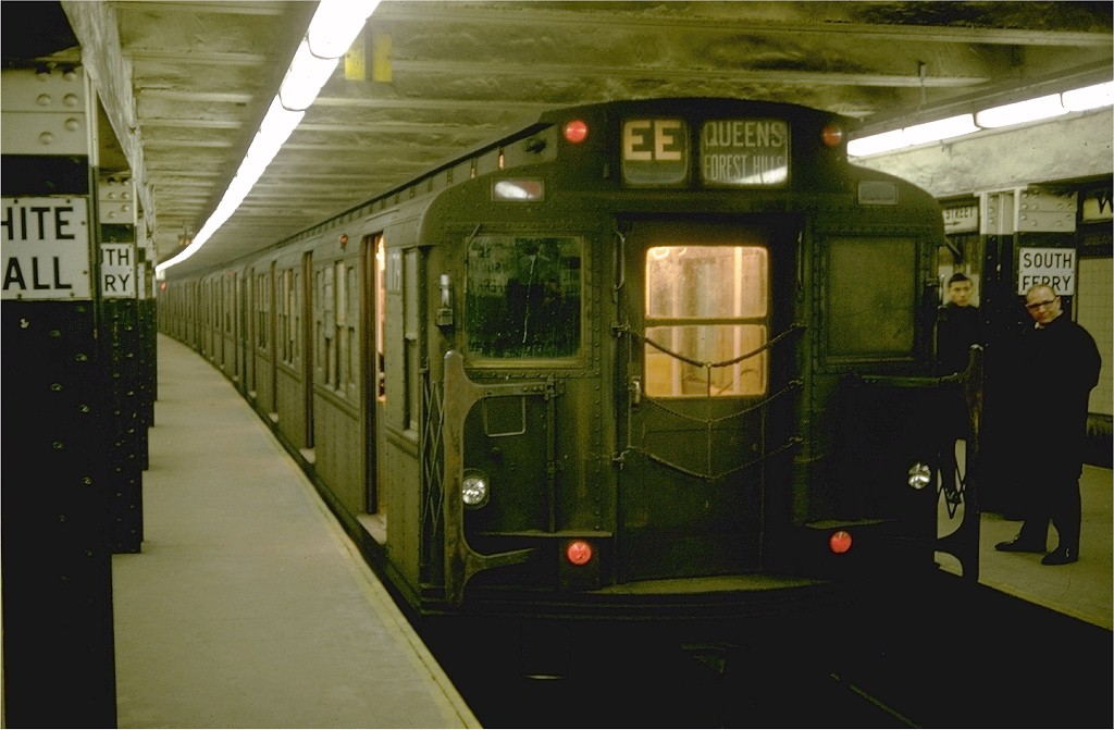 (152k, 1024x671)<br><b>Country:</b> United States<br><b>City:</b> New York<br><b>System:</b> New York City Transit<br><b>Line:</b> BMT Broadway Line<br><b>Location:</b> Whitehall Street <br><b>Route:</b> EE<br><b>Car:</b> R-6-2 (Pullman, 1936)  1179 <br><b>Photo by:</b> Doug Grotjahn<br><b>Collection of:</b> Joe Testagrose<br><b>Date:</b> 12/24/1968<br><b>Viewed (this week/total):</b> 7 / 7892