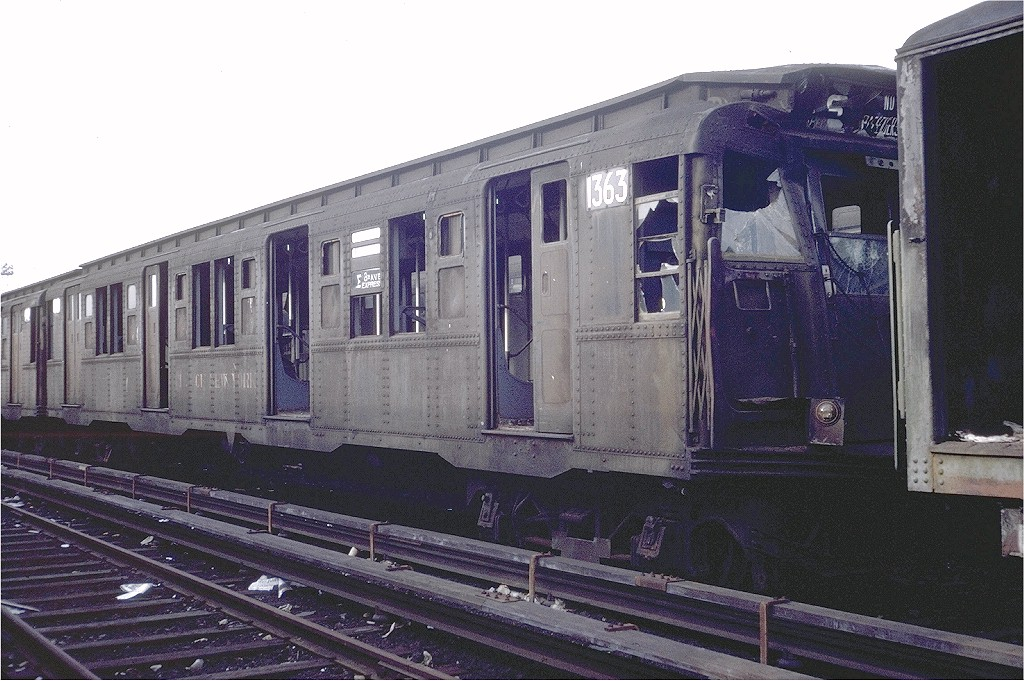 (213k, 1024x681)<br><b>Country:</b> United States<br><b>City:</b> New York<br><b>System:</b> New York City Transit<br><b>Location:</b> Coney Island Yard<br><b>Car:</b> R-6-1 (Pressed Steel, 1936)  1363 <br><b>Photo by:</b> Steve Zabel<br><b>Collection of:</b> Joe Testagrose<br><b>Date:</b> 4/29/1972<br><b>Viewed (this week/total):</b> 2 / 3057