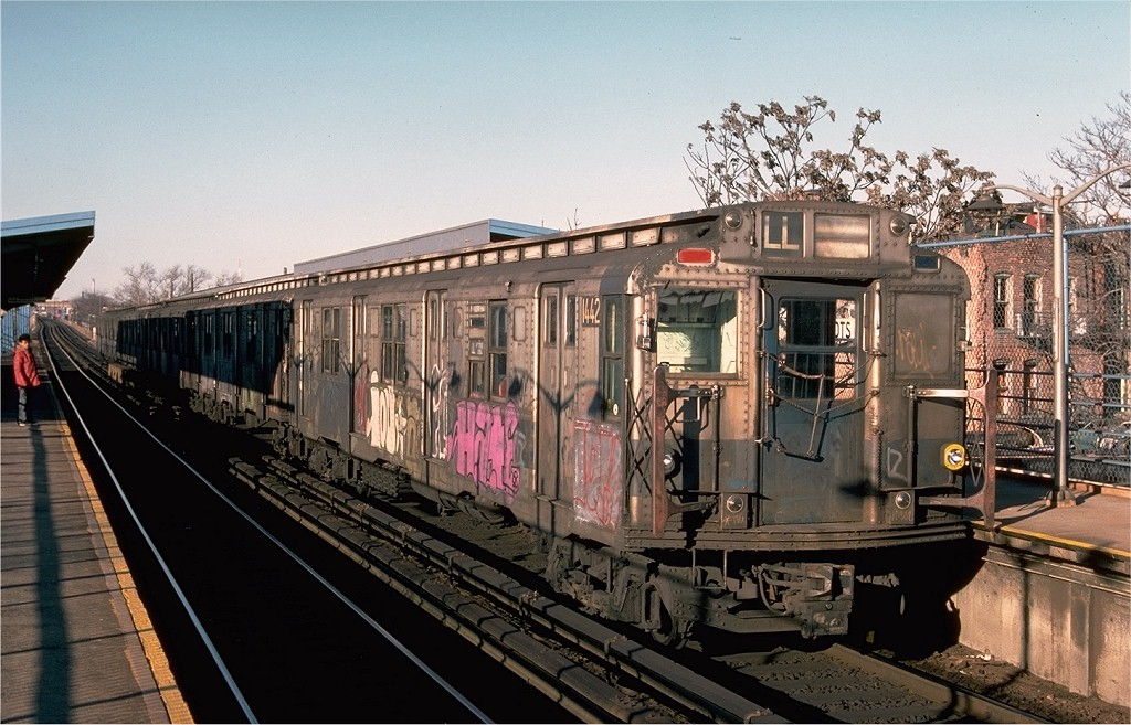 (214k, 1024x657)<br><b>Country:</b> United States<br><b>City:</b> New York<br><b>System:</b> New York City Transit<br><b>Line:</b> BMT Canarsie Line<br><b>Location:</b> New Lots Avenue <br><b>Route:</b> LL<br><b>Car:</b> R-6-3 (American Car & Foundry, 1935)  1442 <br><b>Photo by:</b> Ed McKernan<br><b>Collection of:</b> Joe Testagrose<br><b>Date:</b> 12/24/1976<br><b>Viewed (this week/total):</b> 2 / 4228