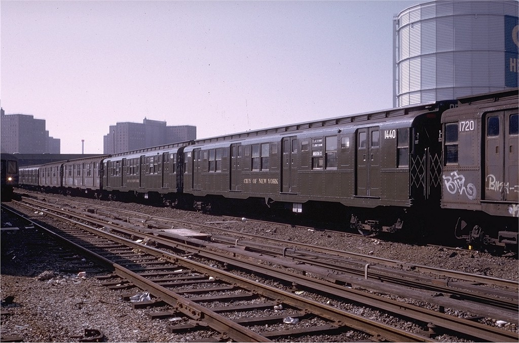 (227k, 1024x677)<br><b>Country:</b> United States<br><b>City:</b> New York<br><b>System:</b> New York City Transit<br><b>Location:</b> Coney Island Yard-Museum Yard<br><b>Car:</b> R-7 (American Car & Foundry, 1937)  1440 <br><b>Photo by:</b> Steve Zabel<br><b>Collection of:</b> Joe Testagrose<br><b>Date:</b> 3/19/1974<br><b>Viewed (this week/total):</b> 0 / 2668