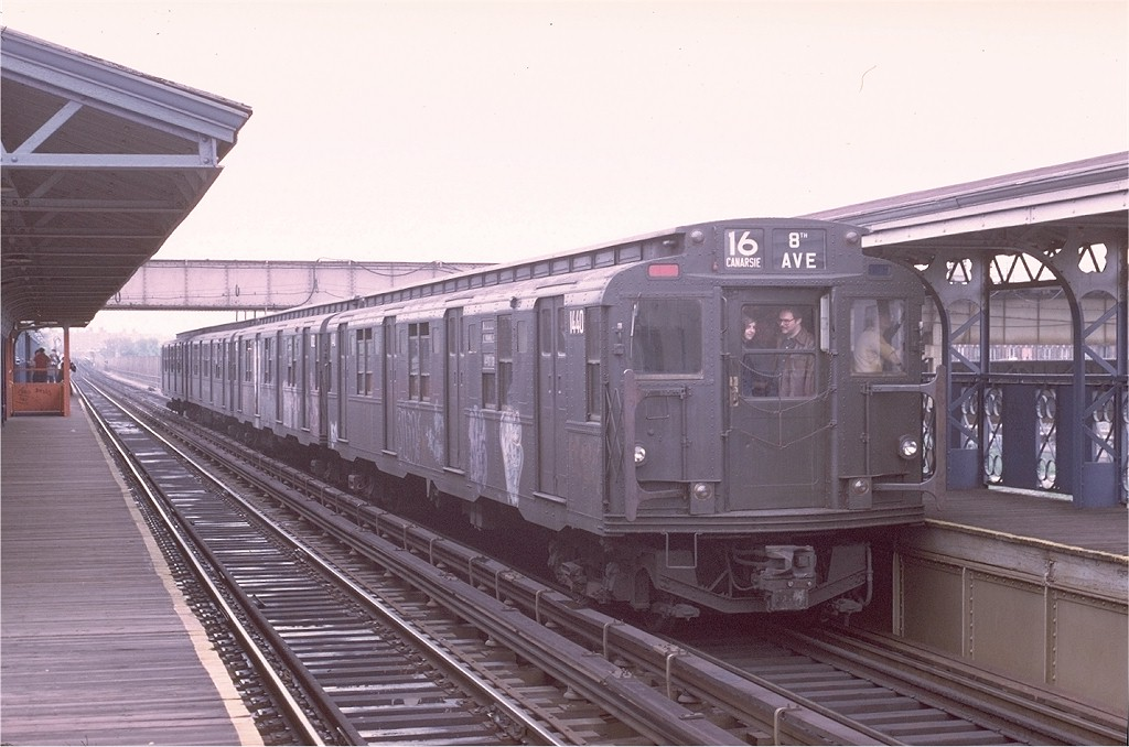 (173k, 1024x678)<br><b>Country:</b> United States<br><b>City:</b> New York<br><b>System:</b> New York City Transit<br><b>Line:</b> BMT Canarsie Line<br><b>Location:</b> Livonia Avenue <br><b>Route:</b> Fan Trip<br><b>Car:</b> R-7 (American Car & Foundry, 1937)  1440 <br><b>Photo by:</b> Joe Testagrose<br><b>Date:</b> 5/18/1975<br><b>Viewed (this week/total):</b> 3 / 3011