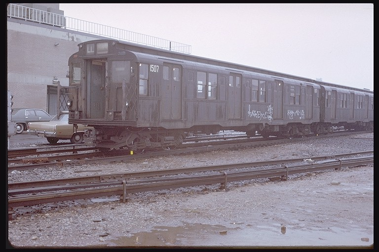 (116k, 768x512)<br><b>Country:</b> United States<br><b>City:</b> New York<br><b>System:</b> New York City Transit<br><b>Location:</b> Coney Island Yard<br><b>Car:</b> R-7 (Pullman, 1937)  1507 <br><b>Photo by:</b> Steve Zabel<br><b>Collection of:</b> Joe Testagrose<br><b>Date:</b> 3/8/1973<br><b>Viewed (this week/total):</b> 1 / 2071