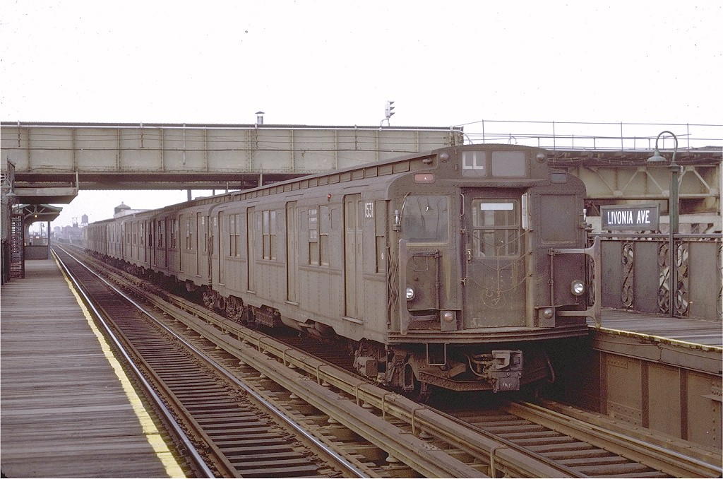 (208k, 1024x678)<br><b>Country:</b> United States<br><b>City:</b> New York<br><b>System:</b> New York City Transit<br><b>Line:</b> BMT Canarsie Line<br><b>Location:</b> Livonia Avenue <br><b>Route:</b> L<br><b>Car:</b> R-7 (Pullman, 1937)  1531 <br><b>Photo by:</b> Joe Testagrose<br><b>Date:</b> 2/27/1971<br><b>Viewed (this week/total):</b> 4 / 2502