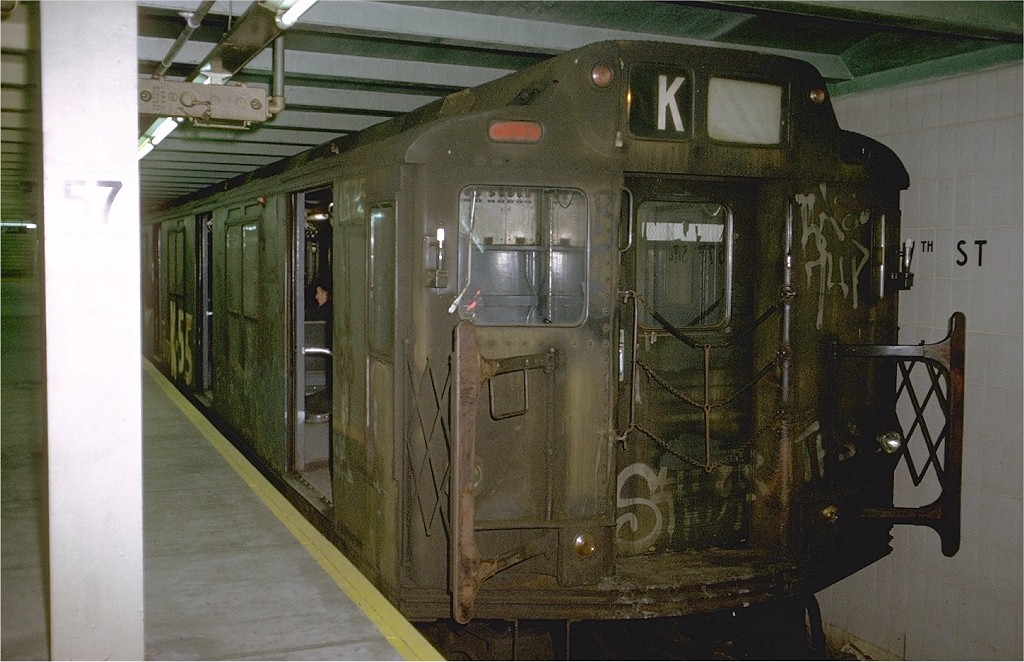 (192k, 1024x662)<br><b>Country:</b> United States<br><b>City:</b> New York<br><b>System:</b> New York City Transit<br><b>Line:</b> IND 6th Avenue Line<br><b>Location:</b> 57th Street <br><b>Route:</b> KK<br><b>Car:</b> R-7A (Pullman, 1938)  1575 <br><b>Photo by:</b> Doug Grotjahn<br><b>Collection of:</b> Joe Testagrose<br><b>Date:</b> 11/27/1974<br><b>Notes:</b> R10 prototype<br><b>Viewed (this week/total):</b> 6 / 4733