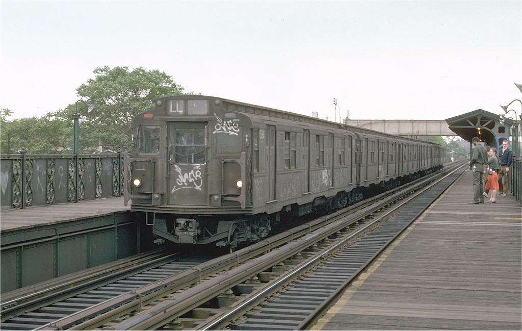 (172k, 1024x649)<br><b>Country:</b> United States<br><b>City:</b> New York<br><b>System:</b> New York City Transit<br><b>Line:</b> BMT Canarsie Line<br><b>Location:</b> Livonia Avenue <br><b>Route:</b> L<br><b>Car:</b> R-7A (Pullman, 1938)  1584 <br><b>Photo by:</b> Joe Testagrose<br><b>Date:</b> 5/26/1974<br><b>Viewed (this week/total):</b> 2 / 2658