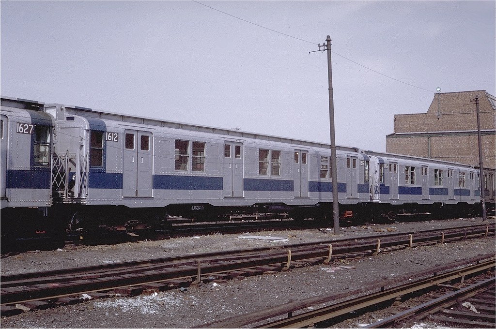 (242k, 1024x680)<br><b>Country:</b> United States<br><b>City:</b> New York<br><b>System:</b> New York City Transit<br><b>Location:</b> Coney Island Yard<br><b>Car:</b> R-7A (American Car & Foundry, 1938)  1612 <br><b>Photo by:</b> Steve Zabel<br><b>Collection of:</b> Joe Testagrose<br><b>Date:</b> 4/13/1971<br><b>Viewed (this week/total):</b> 3 / 2229