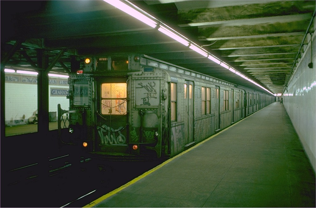 (170k, 1024x674)<br><b>Country:</b> United States<br><b>City:</b> New York<br><b>System:</b> New York City Transit<br><b>Line:</b> BMT Canarsie Line<br><b>Location:</b> Graham Avenue <br><b>Route:</b> L<br><b>Car:</b> R-7A (American Car & Foundry, 1938)  1631 <br><b>Photo by:</b> Doug Grotjahn<br><b>Collection of:</b> Joe Testagrose<br><b>Date:</b> 11/2/1976<br><b>Viewed (this week/total):</b> 0 / 4766