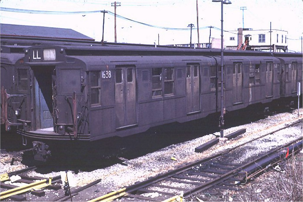 (182k, 1024x685)<br><b>Country:</b> United States<br><b>City:</b> New York<br><b>System:</b> New York City Transit<br><b>Location:</b> Rockaway Parkway (Canarsie) Yard<br><b>Car:</b> R-7A (American Car & Foundry, 1938)  1638 <br><b>Photo by:</b> Joe Testagrose<br><b>Date:</b> 4/12/1969<br><b>Viewed (this week/total):</b> 1 / 2445