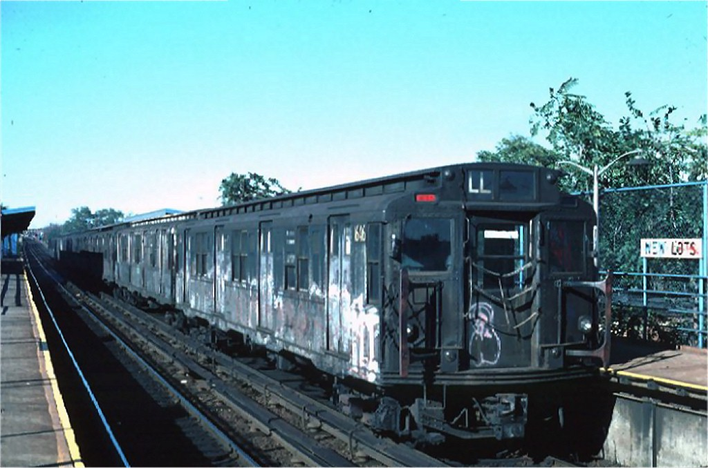 (156k, 1024x678)<br><b>Country:</b> United States<br><b>City:</b> New York<br><b>System:</b> New York City Transit<br><b>Line:</b> BMT Canarsie Line<br><b>Location:</b> New Lots Avenue <br><b>Route:</b> L<br><b>Car:</b> R-7A (American Car & Foundry, 1938)  1646 <br><b>Photo by:</b> Ed McKernan<br><b>Collection of:</b> Joe Testagrose<br><b>Date:</b> 10/18/1976<br><b>Viewed (this week/total):</b> 1 / 2879