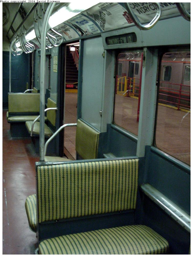 (131k, 790x1047)<br><b>Country:</b> United States<br><b>City:</b> New York<br><b>System:</b> New York City Transit<br><b>Location:</b> New York Transit Museum<br><b>Car:</b> R-7A (Pullman, 1938)  1575 <br><b>Photo by:</b> David Pirmann<br><b>Date:</b> 3/12/2000<br><b>Notes:</b> R10 prototype, interior<br><b>Viewed (this week/total):</b> 0 / 3781