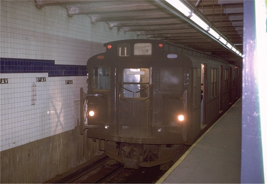 (164k, 1024x707)<br><b>Country:</b> United States<br><b>City:</b> New York<br><b>System:</b> New York City Transit<br><b>Line:</b> BMT Canarsie Line<br><b>Location:</b> 8th Avenue <br><b>Route:</b> L<br><b>Car:</b> R-9 (Pressed Steel, 1940)  1706 <br><b>Photo by:</b> Steve Zabel<br><b>Collection of:</b> Joe Testagrose<br><b>Date:</b> 1/23/1971<br><b>Viewed (this week/total):</b> 5 / 3206