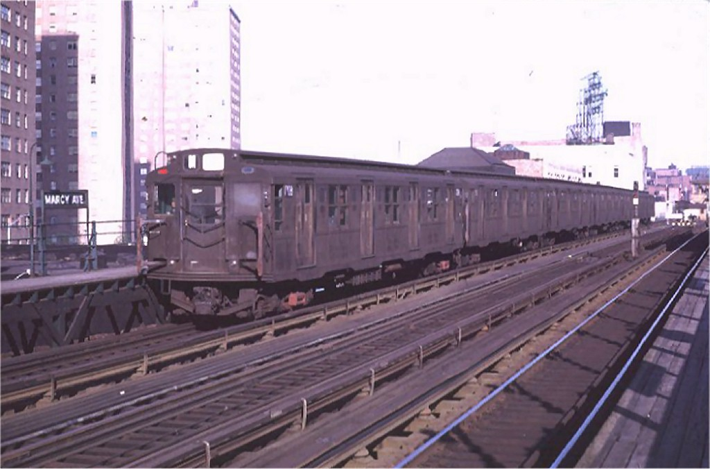 (136k, 1024x676)<br><b>Country:</b> United States<br><b>City:</b> New York<br><b>System:</b> New York City Transit<br><b>Line:</b> BMT Nassau Street/Jamaica Line<br><b>Location:</b> Marcy Avenue <br><b>Route:</b> M<br><b>Car:</b> R-9 (Pressed Steel, 1940)  1708 <br><b>Photo by:</b> Doug Grotjahn<br><b>Collection of:</b> Joe Testagrose<br><b>Date:</b> 5/5/1969<br><b>Viewed (this week/total):</b> 1 / 4753