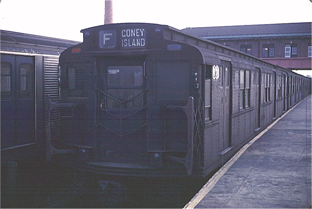 (120k, 1024x688)<br><b>Country:</b> United States<br><b>City:</b> New York<br><b>System:</b> New York City Transit<br><b>Location:</b> Coney Island/Stillwell Avenue<br><b>Route:</b> F<br><b>Car:</b> R-9 (Pressed Steel, 1940)  D61 (ex-1708)<br><b>Photo by:</b> Doug Grotjahn<br><b>Collection of:</b> Joe Testagrose<br><b>Date:</b> 2/21/1968<br><b>Notes:</b> As D61<br><b>Viewed (this week/total):</b> 6 / 2800