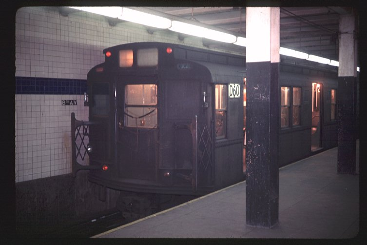 (52k, 753x502)<br><b>Country:</b> United States<br><b>City:</b> New York<br><b>System:</b> New York City Transit<br><b>Line:</b> BMT Canarsie Line<br><b>Location:</b> 8th Avenue <br><b>Route:</b> L<br><b>Car:</b> R-9 (American Car & Foundry, 1940)  D60 (ex-1711)<br><b>Photo by:</b> Doug Grotjahn<br><b>Collection of:</b> Joe Testagrose<br><b>Date:</b> 2/27/1969<br><b>Viewed (this week/total):</b> 2 / 2477
