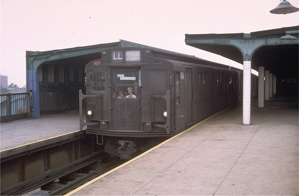 (159k, 1024x671)<br><b>Country:</b> United States<br><b>City:</b> New York<br><b>System:</b> New York City Transit<br><b>Line:</b> BMT Canarsie Line<br><b>Location:</b> Broadway Junction <br><b>Route:</b> LL<br><b>Car:</b> R-9 (Pressed Steel, 1940)  1740 <br><b>Photo by:</b> Doug Grotjahn<br><b>Collection of:</b> Joe Testagrose<br><b>Date:</b> 10/11/1976<br><b>Viewed (this week/total):</b> 2 / 2929