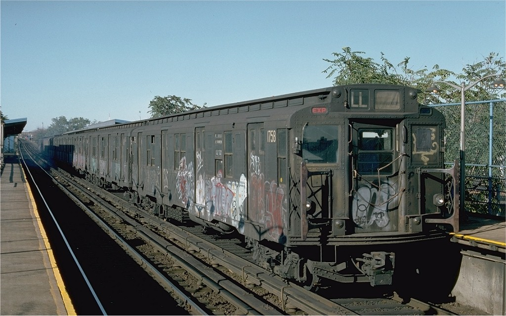 (196k, 1024x640)<br><b>Country:</b> United States<br><b>City:</b> New York<br><b>System:</b> New York City Transit<br><b>Line:</b> BMT Canarsie Line<br><b>Location:</b> New Lots Avenue <br><b>Route:</b> L<br><b>Car:</b> R-9 (Pressed Steel, 1940)  1758 <br><b>Photo by:</b> Ed McKernan<br><b>Collection of:</b> Joe Testagrose<br><b>Date:</b> 10/18/1976<br><b>Viewed (this week/total):</b> 1 / 3061
