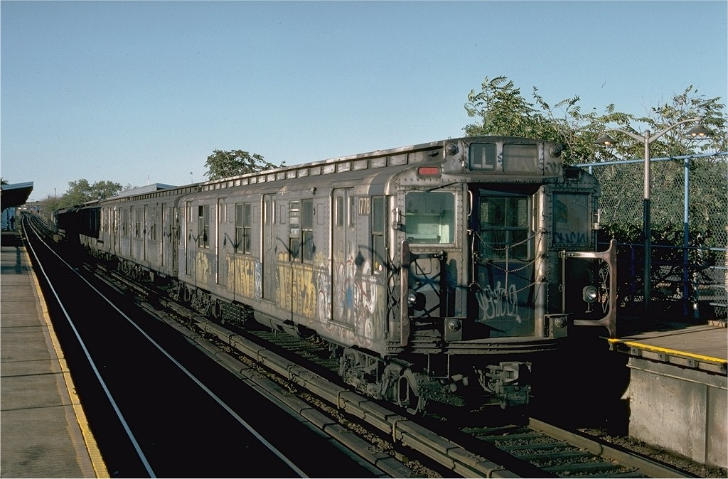 (205k, 1024x674)<br><b>Country:</b> United States<br><b>City:</b> New York<br><b>System:</b> New York City Transit<br><b>Line:</b> BMT Canarsie Line<br><b>Location:</b> New Lots Avenue <br><b>Route:</b> L<br><b>Car:</b> R-9 (Pressed Steel, 1940)  1778 <br><b>Photo by:</b> Ed McKernan<br><b>Collection of:</b> Joe Testagrose<br><b>Date:</b> 10/18/1976<br><b>Viewed (this week/total):</b> 5 / 3398
