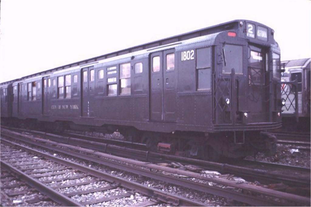 (119k, 1024x680)<br><b>Country:</b> United States<br><b>City:</b> New York<br><b>System:</b> New York City Transit<br><b>Location:</b> Coney Island Yard-Museum Yard<br><b>Car:</b> R-9 (Pressed Steel, 1940)  1802 <br><b>Photo by:</b> Doug Grotjahn<br><b>Collection of:</b> Joe Testagrose<br><b>Date:</b> 3/3/1974<br><b>Viewed (this week/total):</b> 2 / 3078