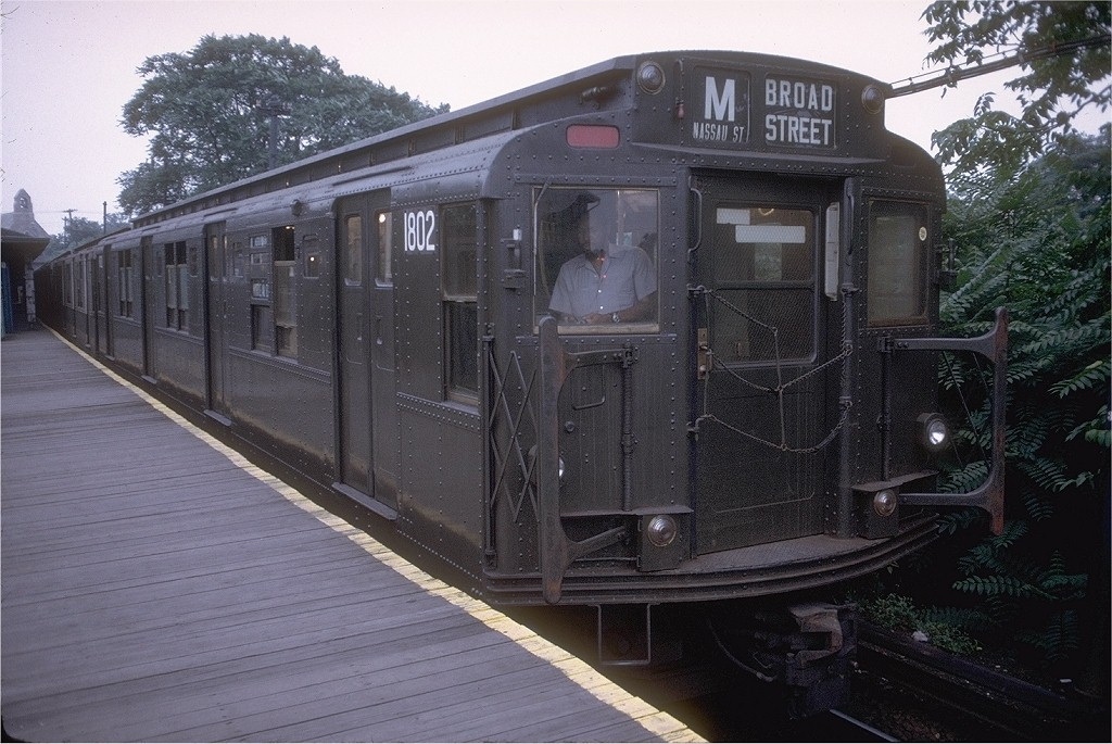 (212k, 1024x685)<br><b>Country:</b> United States<br><b>City:</b> New York<br><b>System:</b> New York City Transit<br><b>Line:</b> BMT Myrtle Avenue Line<br><b>Location:</b> Metropolitan Avenue <br><b>Route:</b> M<br><b>Car:</b> R-9 (Pressed Steel, 1940)  1802 <br><b>Collection of:</b> Joe Testagrose<br><b>Date:</b> 8/2/1972<br><b>Viewed (this week/total):</b> 5 / 2563
