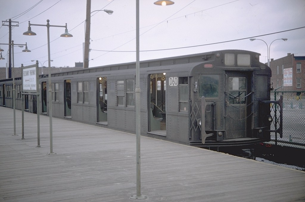 (146k, 1024x679)<br><b>Country:</b> United States<br><b>City:</b> New York<br><b>System:</b> New York City Transit<br><b>Line:</b> BMT Canarsie Line<br><b>Location:</b> Rockaway Parkway <br><b>Route:</b> LL<br><b>Car:</b> R-9 (American Car & Foundry, 1940)  D60 (ex-1711)<br><b>Photo by:</b> Doug Grotjahn<br><b>Collection of:</b> Joe Testagrose<br><b>Date:</b> 3/1/1969<br><b>Viewed (this week/total):</b> 7 / 3229