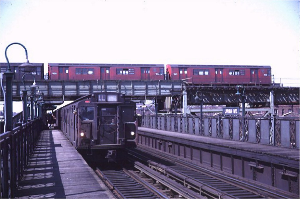(138k, 1024x679)<br><b>Country:</b> United States<br><b>City:</b> New York<br><b>System:</b> New York City Transit<br><b>Line:</b> BMT Canarsie Line<br><b>Location:</b> Livonia Avenue <br><b>Route:</b> LL<br><b>Car:</b> R-1/R-9 Series   <br><b>Photo by:</b> Doug Grotjahn<br><b>Collection of:</b> Joe Testagrose<br><b>Date:</b> 4/26/1969<br><b>Viewed (this week/total):</b> 0 / 4088
