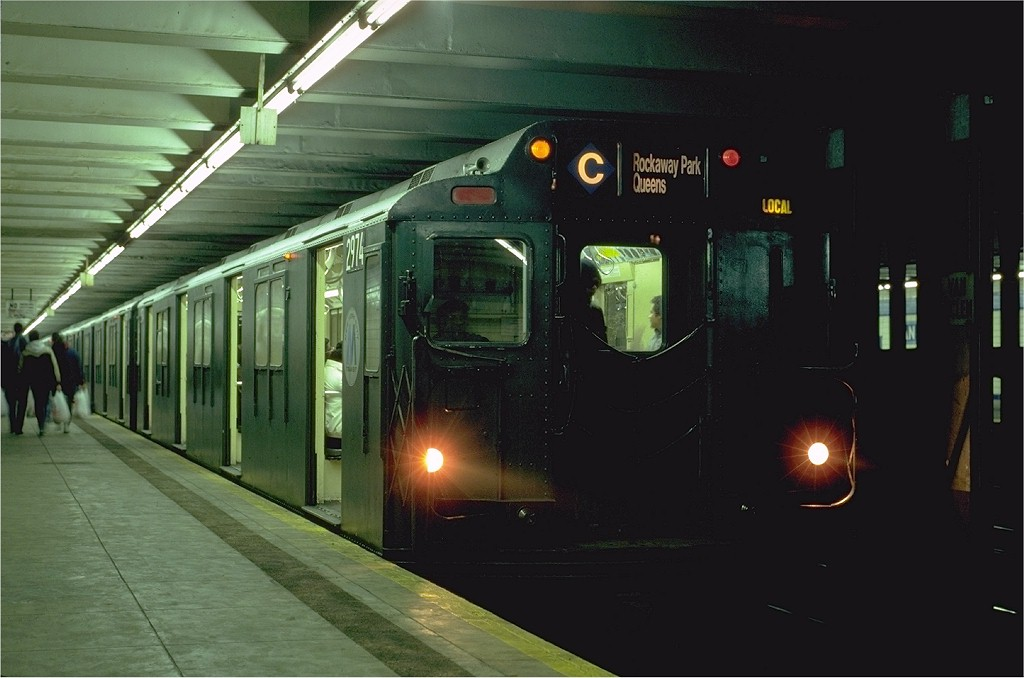 (143k, 1024x678)<br><b>Country:</b> United States<br><b>City:</b> New York<br><b>System:</b> New York City Transit<br><b>Line:</b> IND Fulton Street Line<br><b>Location:</b> Van Siclen Avenue <br><b>Route:</b> C<br><b>Car:</b> R-10 (American Car & Foundry, 1948) 2974 (ex-1827)<br><b>Photo by:</b> Eric Oszustowicz<br><b>Collection of:</b> Joe Testagrose<br><b>Date:</b> 2/5/1986<br><b>Viewed (this week/total):</b> 8 / 8832