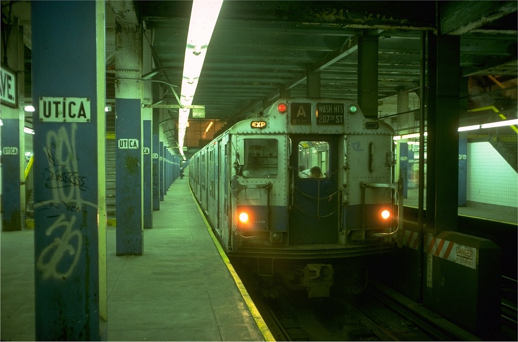 (159k, 1024x677)<br><b>Country:</b> United States<br><b>City:</b> New York<br><b>System:</b> New York City Transit<br><b>Line:</b> IND Fulton Street Line<br><b>Location:</b> Utica Avenue <br><b>Route:</b> A<br><b>Car:</b> R-10 (American Car & Foundry, 1948) 2990 (ex-1843)<br><b>Collection of:</b> Joe Testagrose<br><b>Date:</b> 6/30/1977<br><b>Viewed (this week/total):</b> 2 / 6175