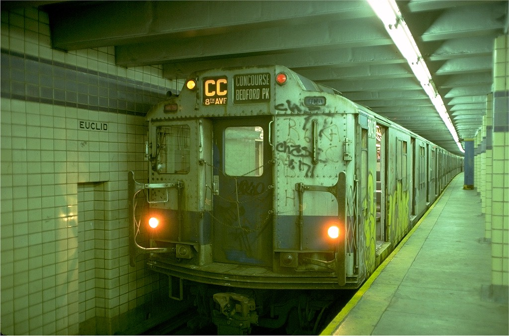 (192k, 1024x676)<br><b>Country:</b> United States<br><b>City:</b> New York<br><b>System:</b> New York City Transit<br><b>Line:</b> IND Fulton Street Line<br><b>Location:</b> Euclid Avenue <br><b>Route:</b> CC<br><b>Car:</b> R-10 (American Car & Foundry, 1948) 3043 <br><b>Photo by:</b> Doug Grotjahn<br><b>Collection of:</b> Joe Testagrose<br><b>Date:</b> 6/30/1977<br><b>Viewed (this week/total):</b> 2 / 5460