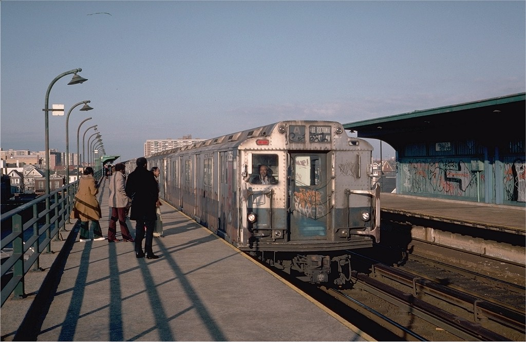 (177k, 1024x666)<br><b>Country:</b> United States<br><b>City:</b> New York<br><b>System:</b> New York City Transit<br><b>Line:</b> IND Rockaway<br><b>Location:</b> Beach 90th Street/Holland <br><b>Route:</b> A<br><b>Car:</b> R-10 (American Car & Foundry, 1948) 3056 <br><b>Photo by:</b> Steve Zabel<br><b>Collection of:</b> Joe Testagrose<br><b>Date:</b> 4/9/1976<br><b>Viewed (this week/total):</b> 1 / 5541
