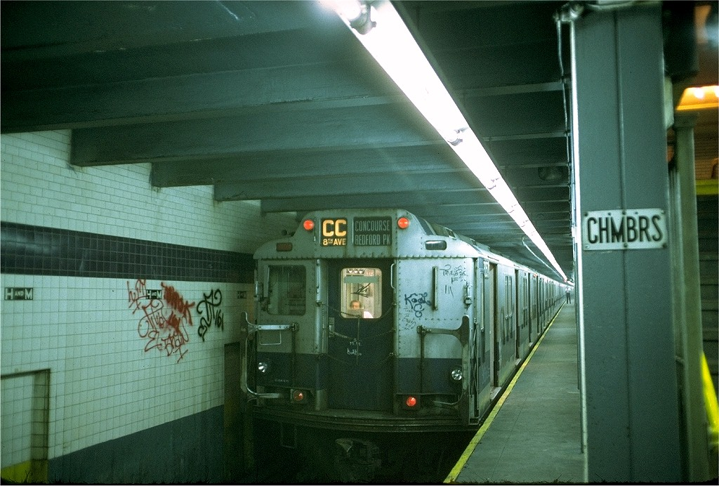 (216k, 1024x692)<br><b>Country:</b> United States<br><b>City:</b> New York<br><b>System:</b> New York City Transit<br><b>Line:</b> IND 8th Avenue Line<br><b>Location:</b> Chambers Street/World Trade Center <br><b>Route:</b> CC<br><b>Car:</b> R-10 (American Car & Foundry, 1948) 3057 <br><b>Photo by:</b> Doug Grotjahn<br><b>Collection of:</b> Joe Testagrose<br><b>Date:</b> 6/25/1973<br><b>Viewed (this week/total):</b> 4 / 4686