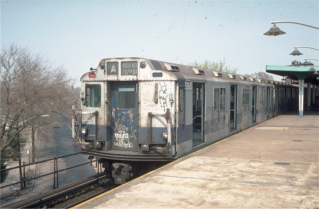 (225k, 1024x670)<br><b>Country:</b> United States<br><b>City:</b> New York<br><b>System:</b> New York City Transit<br><b>Line:</b> IND Rockaway<br><b>Location:</b> Mott Avenue/Far Rockaway <br><b>Route:</b> A<br><b>Car:</b> R-10 (American Car & Foundry, 1948) 3060 <br><b>Photo by:</b> Steve Zabel<br><b>Collection of:</b> Joe Testagrose<br><b>Date:</b> 4/18/1976<br><b>Viewed (this week/total):</b> 2 / 4034