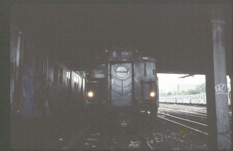 (39k, 800x518)<br><b>Country:</b> United States<br><b>City:</b> New York<br><b>System:</b> New York City Transit<br><b>Location:</b> Concourse Yard<br><b>Car:</b> R-10 (American Car & Foundry, 1948) 3141 <br><b>Photo by:</b> Harold<br><b>Date:</b> 8/23/1988<br><b>Notes:</b> R16 replacement storm door<br><b>Viewed (this week/total):</b> 2 / 5006