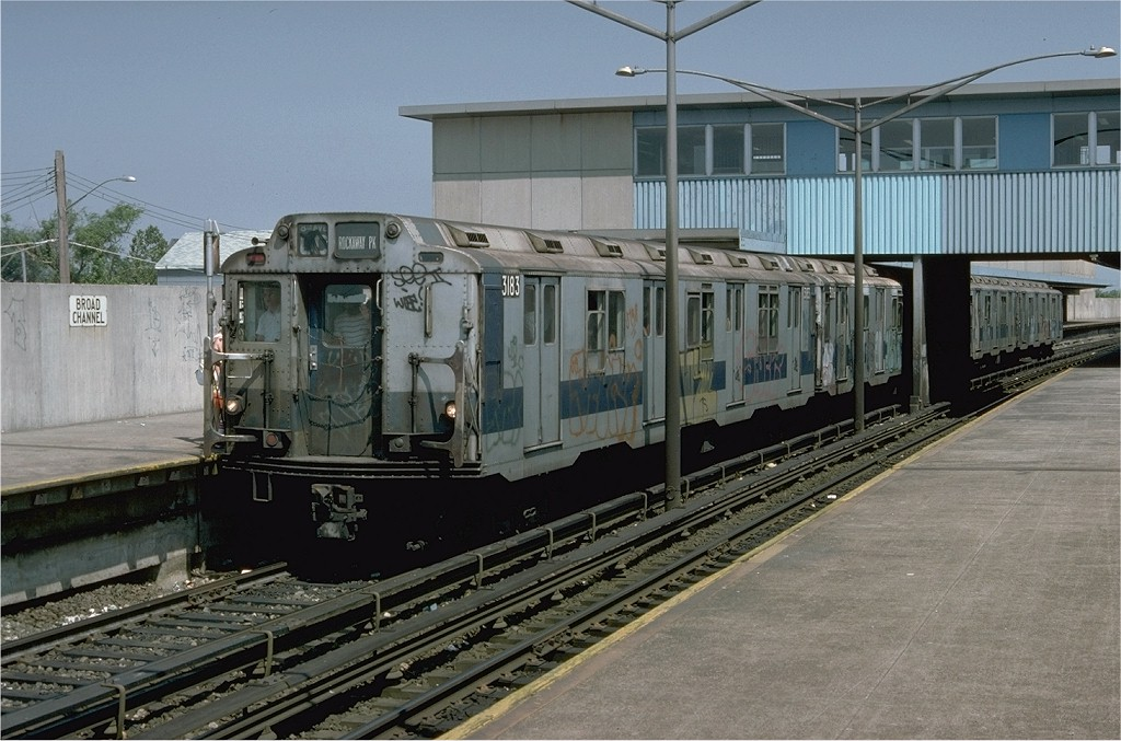 (200k, 1024x677)<br><b>Country:</b> United States<br><b>City:</b> New York<br><b>System:</b> New York City Transit<br><b>Line:</b> IND Rockaway<br><b>Location:</b> Broad Channel <br><b>Route:</b> CC<br><b>Car:</b> R-10 (American Car & Foundry, 1948) 3183 <br><b>Photo by:</b> Doug Grotjahn<br><b>Collection of:</b> Joe Testagrose<br><b>Date:</b> 6/30/1977<br><b>Viewed (this week/total):</b> 1 / 3126
