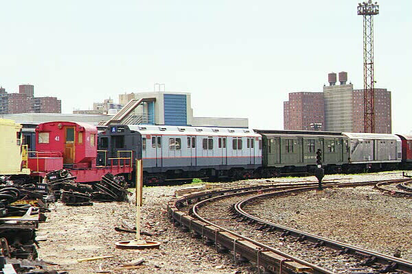 (127k, 600x400)<br><b>Country:</b> United States<br><b>City:</b> New York<br><b>System:</b> New York City Transit<br><b>Location:</b> Coney Island Yard-Museum Yard<br><b>Car:</b> R-10 (American Car & Foundry, 1948) 3184 <br><b>Photo by:</b> Sidney Keyles<br><b>Date:</b> 5/22/1999<br><b>Notes:</b> Also visible, Drill Motor #41<br><b>Viewed (this week/total):</b> 0 / 4698