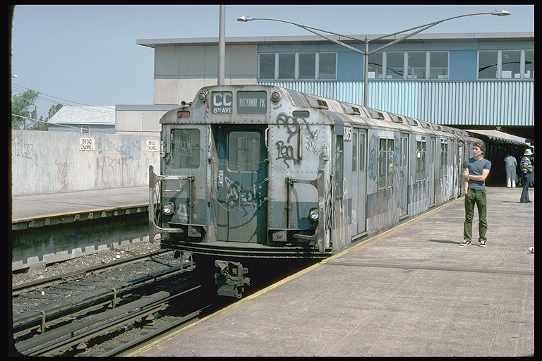 (136k, 768x512)<br><b>Country:</b> United States<br><b>City:</b> New York<br><b>System:</b> New York City Transit<br><b>Line:</b> IND Rockaway<br><b>Location:</b> Broad Channel <br><b>Route:</b> CC<br><b>Car:</b> R-10 (American Car & Foundry, 1948) 3185 <br><b>Photo by:</b> Doug Grotjahn<br><b>Collection of:</b> Joe Testagrose<br><b>Date:</b> 6/30/1977<br><b>Viewed (this week/total):</b> 2 / 4098