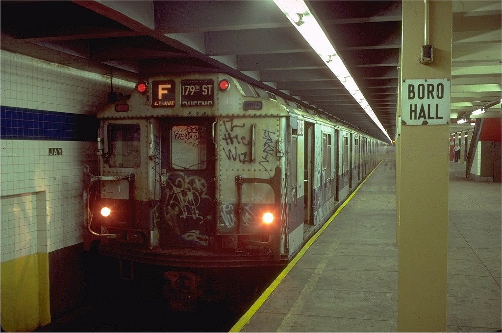 (178k, 1024x680)<br><b>Country:</b> United States<br><b>City:</b> New York<br><b>System:</b> New York City Transit<br><b>Line:</b> IND 8th Avenue Line<br><b>Location:</b> Jay St./Metrotech (Borough Hall) <br><b>Route:</b> F<br><b>Car:</b> R-10 (American Car & Foundry, 1948) 3193 <br><b>Collection of:</b> Joe Testagrose<br><b>Date:</b> 8/15/1980<br><b>Viewed (this week/total):</b> 0 / 4553