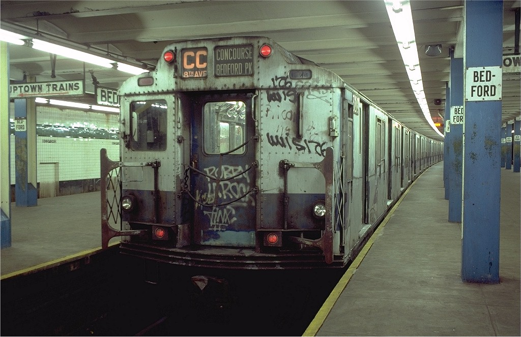 (195k, 1024x663)<br><b>Country:</b> United States<br><b>City:</b> New York<br><b>System:</b> New York City Transit<br><b>Line:</b> IND Concourse Line<br><b>Location:</b> Bedford Park Boulevard <br><b>Route:</b> CC<br><b>Car:</b> R-10 (American Car & Foundry, 1948) 3210 <br><b>Photo by:</b> Doug Grotjahn<br><b>Collection of:</b> Joe Testagrose<br><b>Date:</b> 11/4/1980<br><b>Viewed (this week/total):</b> 3 / 4259