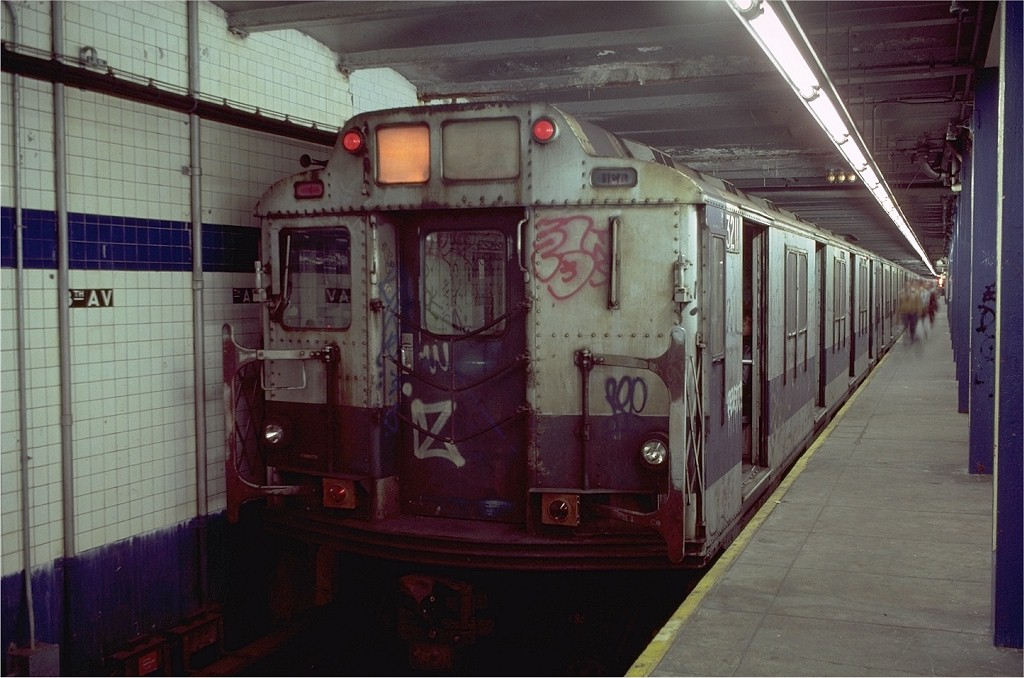 (177k, 1024x678)<br><b>Country:</b> United States<br><b>City:</b> New York<br><b>System:</b> New York City Transit<br><b>Line:</b> BMT Canarsie Line<br><b>Location:</b> 8th Avenue <br><b>Route:</b> L<br><b>Car:</b> R-10 (American Car & Foundry, 1948) 3211 <br><b>Photo by:</b> Doug Grotjahn<br><b>Collection of:</b> Joe Testagrose<br><b>Date:</b> 11/14/1980<br><b>Viewed (this week/total):</b> 9 / 4841