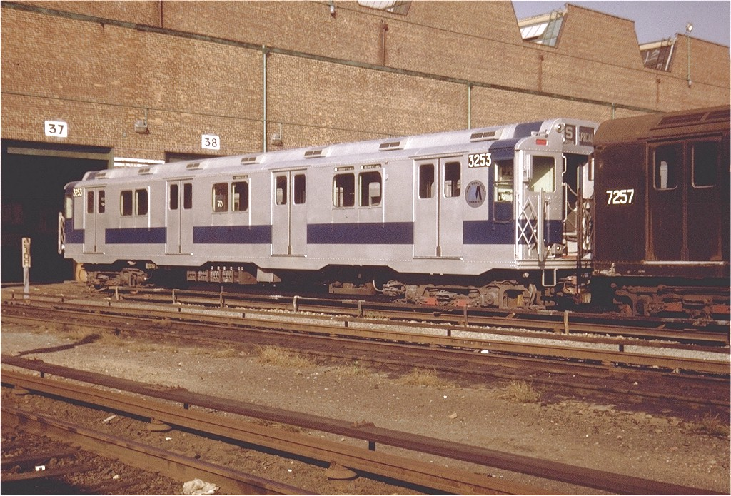 (248k, 1024x695)<br><b>Country:</b> United States<br><b>City:</b> New York<br><b>System:</b> New York City Transit<br><b>Location:</b> Coney Island Yard<br><b>Car:</b> R-10 (American Car & Foundry, 1948) 3253 <br><b>Photo by:</b> Steve Zabel<br><b>Collection of:</b> Joe Testagrose<br><b>Date:</b> 10/1971<br><b>Viewed (this week/total):</b> 2 / 2297