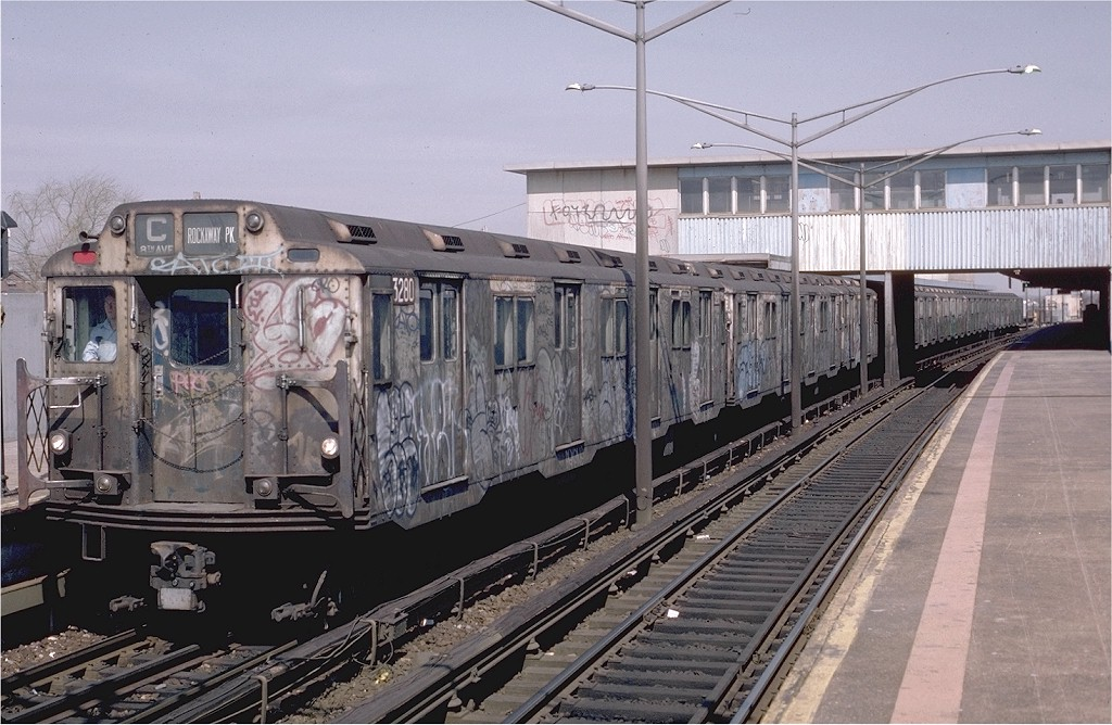 (210k, 1024x668)<br><b>Country:</b> United States<br><b>City:</b> New York<br><b>System:</b> New York City Transit<br><b>Line:</b> IND Rockaway<br><b>Location:</b> Broad Channel <br><b>Route:</b> C<br><b>Car:</b> R-10 (American Car & Foundry, 1948) 3280 <br><b>Photo by:</b> Eric Oszustowicz<br><b>Collection of:</b> Joe Testagrose<br><b>Date:</b> 4/3/1987<br><b>Viewed (this week/total):</b> 1 / 5541