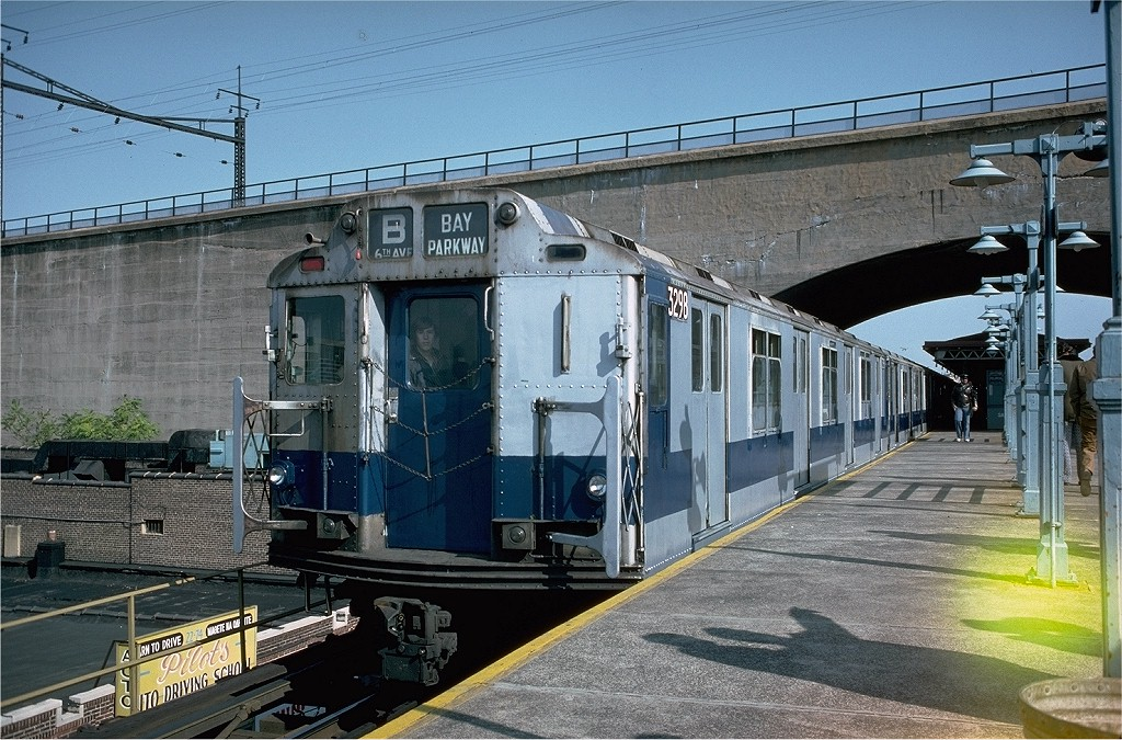 (252k, 1024x675)<br><b>Country:</b> United States<br><b>City:</b> New York<br><b>System:</b> New York City Transit<br><b>Line:</b> BMT Astoria Line<br><b>Location:</b> Ditmars Boulevard <br><b>Route:</b> Fan Trip<br><b>Car:</b> R-10 (American Car & Foundry, 1948) 3298 <br><b>Photo by:</b> Doug Grotjahn<br><b>Collection of:</b> Joe Testagrose<br><b>Date:</b> 10/23/1976<br><b>Viewed (this week/total):</b> 8 / 3385